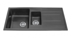 ONE AND 1/4 BOWL BLACK KITCHEN SINK WITH DRAINER 1000X500MM