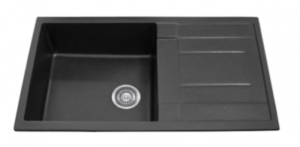 SINGLE BOWL BLACK KITCHEN SINK WITH DRAINER 860X500MM