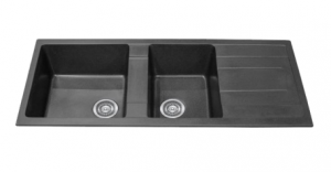 1 AND 3/4 BOWL BLACK KITCHEN SINK WITH DRAINER 1160X500MM