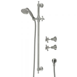 LILLIAN Rail Shower Set with Taps - Brushed Nickel