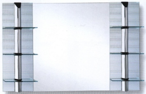 Square Mirror With Two Side Shelves - 1200x800mm