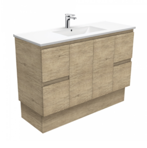 Coventry 120 x 55 single bowl satin white vanity with real marble top & ceramic undercounter basins - image Dolce-Edge-Scandi-Oak-1200-Vanity-on-Kickboard-300x302 on https://portellihomecentre.com.au