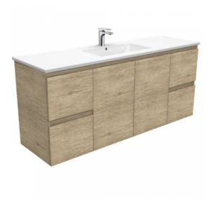 Coventry 120 x 55 single bowl satin white vanity with real marble top & ceramic undercounter basins - image Dolce-Edge-Scandi-Oak-1500-Single-Bowl-Wall-Hung-Vanity-300x284 on https://portellihomecentre.com.au