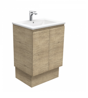 Coventry 120 x 55 single bowl satin white vanity with real marble top & ceramic undercounter basins - image Dolce-Edge-Scandi-Oak-600-Vanity-on-Kickboard-300x336 on https://portellihomecentre.com.au