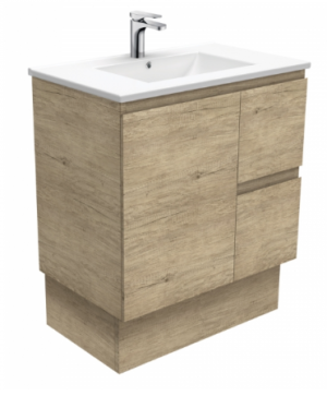 Coventry 120 x 55 single bowl satin white vanity with real marble top & ceramic undercounter basins - image Dolce-Edge-Scandi-Oak-750-Vanity-on-Kickboard-300x374 on https://portellihomecentre.com.au