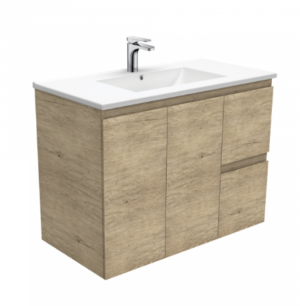 Coventry 120 x 55 single bowl satin white vanity with real marble top & ceramic undercounter basins - image Dolce-Edge-Scandi-Oak-900-Wall-Hung-Vanity-300x306 on https://portellihomecentre.com.au