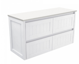 Coventry 120 x 55 single bowl satin white vanity with real marble top & ceramic undercounter basins - image Hampton-1200mm-Wall-Hung-Cabinet-300x244 on https://portellihomecentre.com.au