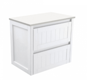 Coventry 120 x 55 single bowl satin white vanity with real marble top & ceramic undercounter basins - image Hampton-750mm-Wall-Hung-Cabinet-300x276 on https://portellihomecentre.com.au