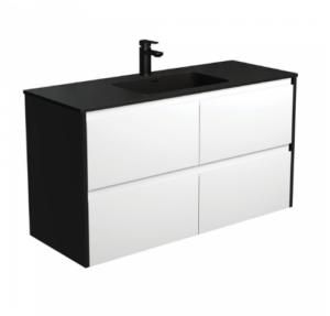 Coventry 120 x 55 single bowl satin white vanity with real marble top & ceramic undercounter basins - image Montana-Amato-1200-Matte-White-Vanity-Matte-Black-Panels-Wall-Hung-300x287 on https://portellihomecentre.com.au