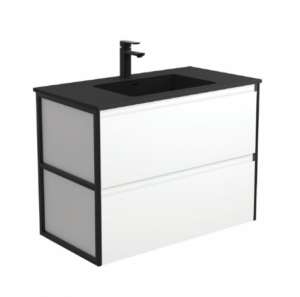 Coventry 120 x 55 single bowl satin white vanity with real marble top & ceramic undercounter basins - image Montana-Amato-900-Matte-White-Vanity-Metal-Frame-Panels-Wall-Hung-300x297 on https://portellihomecentre.com.au