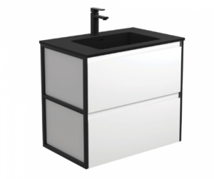 Coventry 120 x 55 single bowl satin white vanity with real marble top & ceramic undercounter basins - image Vanity-Metal-Frame-Panels-Wall-Hung-300x251 on https://portellihomecentre.com.au