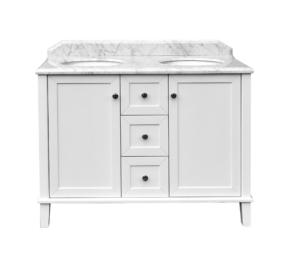 Coventry 120 x 55 single bowl satin white vanity with real marble top & ceramic undercounter basins - image cov-300x265 on https://portellihomecentre.com.au
