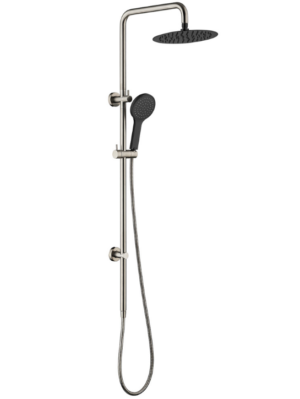 VIBE SHOWER SET (COMBINE WITH MIXER) - image KAYA-Twin-Rail-Shower-Brushed-Nickel-Matte-Black-Heads-300x399 on https://portellihomecentre.com.au