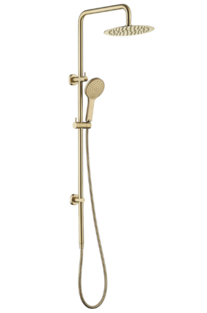 VIBE SHOWER SET (COMBINE WITH MIXER) - image KAYA-Twin-Rail-Shower-Urban-Brass-300x452 on https://portellihomecentre.com.au