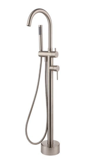 Kaya Basin Tap Set, Brushed Nickel 338101BN - image 117-KAYA-Floor-Mounted-Bath-Mixer-with-Hand-Shower-Brushed-Nickel-300x550 on https://portellihomecentre.com.au