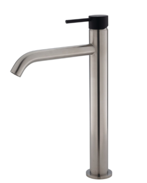 Kaya Basin Tap Set, Brushed Nickel 338101BN - image 122-KAYA-Tall-Basin-Mixer-Brushed-Nickel-with-Matte-Black-Handle-300x372 on https://portellihomecentre.com.au