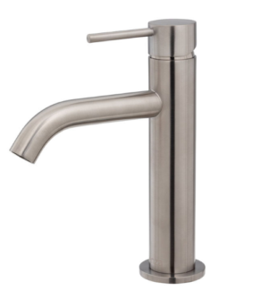 Kaya Basin Tap Set, Brushed Nickel 338101BN - image 125-KAYA-Basin-Mixer-Brushed-Nickel-300x334 on https://portellihomecentre.com.au