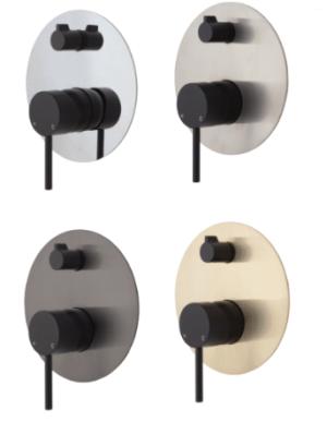 KAYA Basin Mixer, Urban Brass228103UB - image 55-KAYA-Wall-Diverter-Mixer-Matte-Black-Large-Round-Urban-Brass-Plate-300x387 on https://portellihomecentre.com.au
