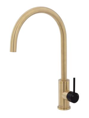 KAYA Basin Mixer, Urban Brass228103UB - image 90-KAYA-Sink-Mixer-Urban-Brass-with-Matte-Black-Handle-300x399 on https://portellihomecentre.com.au