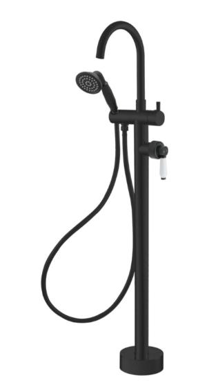 ELEANOR Floor Mixer & Shower, Matte Black / Ceramic 202113BK - image ELEANOR-Floor-Mixer-Shower-Matte-Black-Ceramic-image1-300x561 on https://portellihomecentre.com.au