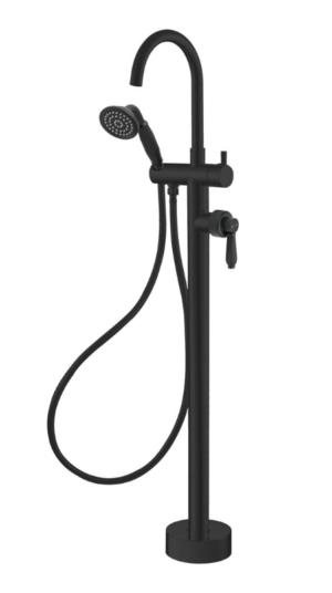 ELEANOR Floor Mixer & Shower, Matte Black / Ceramic 202113BK - image ELEANOR-Floor-Mixer-Shower-Matte-Black-Matte-Black-image-1-300x536 on https://portellihomecentre.com.au