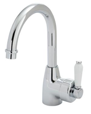 ELEANOR Gooseneck Basin Mixer, Chrome / Ceramic - image ELEANOR-Gooseneck-Basin-Mixer-Chrome-Ceramic-image1-300x375 on https://portellihomecentre.com.au