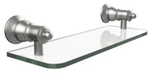 LILLIAN Lever Wall Top Assemblies, Brushed Nickel - 339104BN - image 104-LILLIAN-Glass-Shelf-Brushed-Nickel-300x143 on https://portellihomecentre.com.au