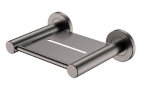 KAYA UP Wall Basin/Bath Mixer Set, Gun Metal, Round Plates, 200mm Outlet 228118GM-200 - image 150-KAYA-Soap-Shelf-Gun-Metal-300x169 on https://portellihomecentre.com.au