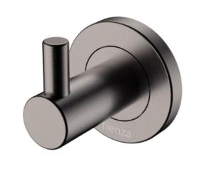 KAYA UP Wall Basin/Bath Mixer Set, Gun Metal, Round Plates, 200mm Outlet 228118GM-200 - image 157-KAYA-Robe-Hook-Gun-Metal-300x251 on https://portellihomecentre.com.au