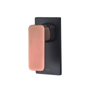 SETO MATT BLACK & ROSE GOLD HANDLE BASIN MIXER - image HYB66-301MB-R-1-300x300-300x300 on https://portellihomecentre.com.au