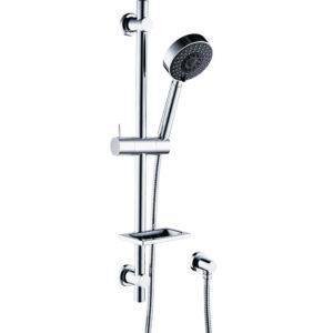 Kaya Rail Shower, Chrome, Matte Black Heads 444109CB - image 444106_1-300x300 on https://portellihomecentre.com.au
