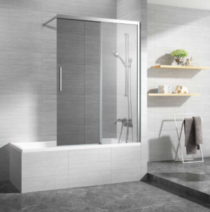 Kubix Door 900×900 KUD90C Chrome ( 7 Size Options) & (2 colour Options) - image Metro-Bath-Slider-Mirror-Door2-300x303 on https://portellihomecentre.com.au